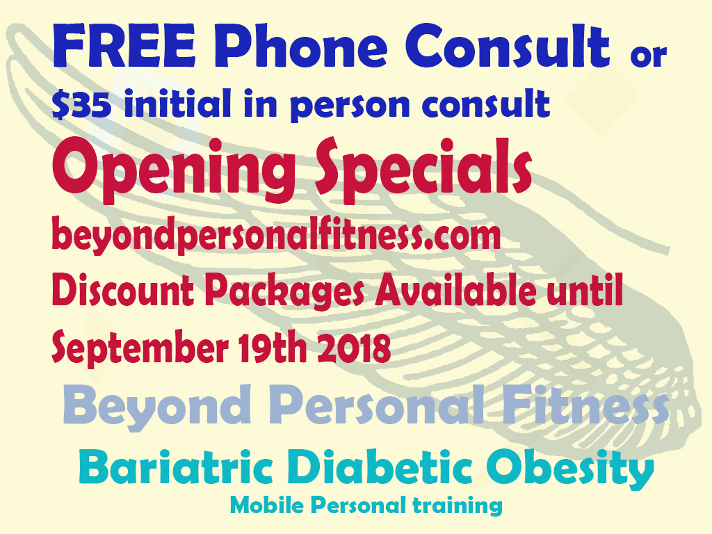 Free Phone Consult or $35 initial in person consult. Bariatric diabetic obesity mobile personal training brisbane gold coast beyondpersonalfitness.com